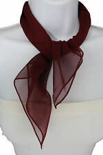 Women Fashion Neck Scarf Burgundy Dark Red Small Soft Fabric Square Pocket Sheer