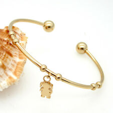 Gold Tone Stainless Steel Cuff Bangle With Cute Girls Charms Bracelet Fashion