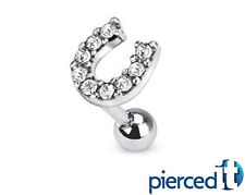 LUCKY HORSESHOE PAVE CZs EAR PIERCING CARTILAGE CUFF CONCH HELIX TRAGUS RING 16g