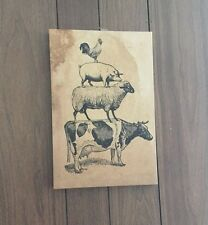15 X 10 Farm Animal Stack ~ Stretched Canvas ~ wall hanging ~ Country Decor CUTE