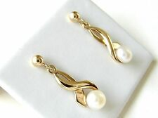 9CT Yellow Gold White Button Pearl Drop Stud Earrings
