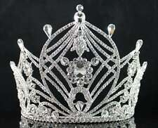 STRIKING CLEAR AUSTRIAN CRYSTAL RHINESTONE TIARA CROWN BRIDAL PROM PAGEANT T1859