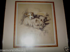 WEST HIGHLAND TERRIER  & FOX TERRIER  RARE FRAMED  PRINT  FROM THE 1930's