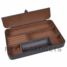 Valet Tray 6 Compartment BROWN Leatherette Wallet Coins Watch Phone Ring Holder