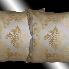 2 GOLD DAMASK BEIGE THROW PILLOW CASE CUSHION COVERS 17