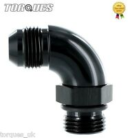 """AN -8 (-8AN) to ORB-8 (3/4"""" UNF) O-Ring Boss 90 Degree Full Flow Adapter BLACK"""