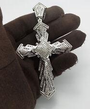 3.50CT Mens Diamond Cross Pendant 14K White Gold 31.1 Grams