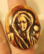 Unique Shaded Brown Resin Large Oval Shrouded Ghost Zombie Finger Ring Size 7.5