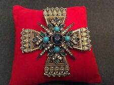 Vtg. Maltese Cross Pin. Signed Art. 1960's