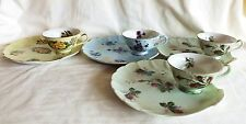 Original Vintage Set of 4 Lefton China Floral Luncheon Snack Plates & Cups Excel