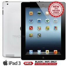 "New APPLE iPad 3 3rd Gen Black 64GB WiFi Only 9.7"" Retina Screen Tablet"
