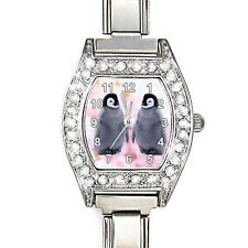 Twins Emperor Penguin Baby CZ Ladies Stainless Steel Italian Charms Watch BJ1167