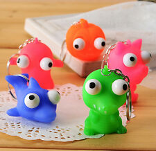FD2677 Animal Squeeze Toy Keyring Cell Phone Car Pendant Eye Doll Keychain 1pc