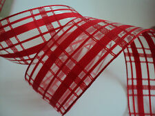 Red Sheer Gingham Check Flock Wired Ribbon, ღ  Bows, Decorative Crafts