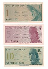 1964 Indonesia Bank Partial Type Set 1 5 10 Sen UNC Sepuluh Lima Satu Crispy!