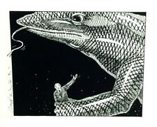 Signed Ink Fantasy Drawing a Komodo Dragon holding Nikita Khruschev in its Grip