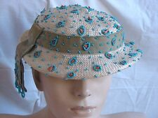 Rare Vtg 1930s Lots of Turquoise Beads Real Coral Branch Cream Straw Boater Hat