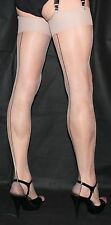 5Pairs Extra Long Nude Sheer 15Denier Black Contrast Cuban Heel Seamed Stockings