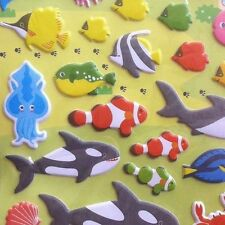 3D Dimensional Puffy Sticker Killer Whales Shark Dolphin Crab Turtle Lobster
