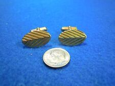 Vintage Gold Plated Oval Chevron Groove Cufflinks Swank                   CI4