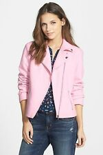 Women's Ace Delivery Asymmetrical Moto Jacket in Pink Size XS