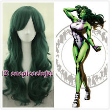 Free shipping She-Hulk Curly Wave Deep Green WIG cosplay wig + a wig cap