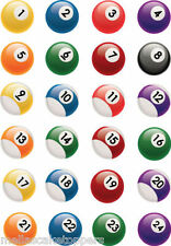 20 Novelty Pool Balls Snookers Edible Cake & Cupcake Toppers Edible Wafer