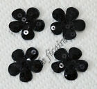 "1-3/8"" Padded Sequined Flower Appliques Sew On Trims Hair Clippies x 50 Black"