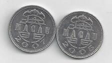 2 NICE 1 PATACA COINS from MACAU DATING 2005 & 2007