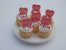 Dolls house food: Valentines red love heart cupcakes   -By Fran