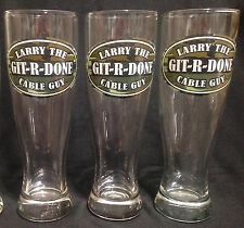 """THREE Larry The Cable Guy """"GIT-R-DONE"""" Camo Pint Pilsner Beer Glasses 8.25""""H"""