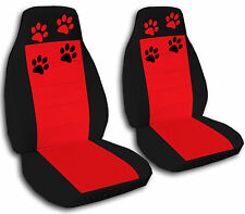 2 Black and Red Paw Print Velvet Seat Covers Universal Size