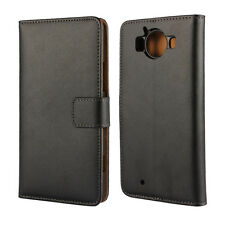 For Nokia Lumia 950XL Black Genuine Leather Wallet Style Card Case Cover Stand