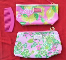 Lilly Pulitzer 2 Cosmetic Cases Bags Lemons & Pink Floral + Pulitzer Comb