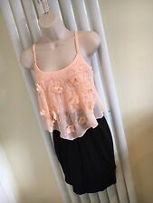 LIPSY Stunning Coral Pink Beaded Black Strappy Dress Size 10  NEW