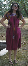 Vintage Brick Maroon Oaxacan Mexican Intricate Embroidered Dress sz M AS IS