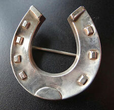 "antique Victorian SILVER 1.6"" lucky horse shoe brooch hinged c pin -C706"