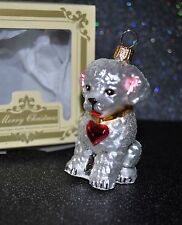 NEW Glass Christmas Ornament BICHON White DOG PUPPY Home Animal Red Heart CUTE