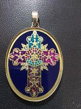 """Rose Cross Pendant 1.5"""" Lapis Oval Gemstone Sterling Silver Frame Religious Gift"""