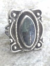 Vintage Sterling Silver Turquoise Southwest Ring Size 4.5 8.3g Tribal Pinkie