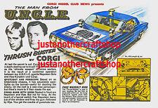 CORGI TOYS 497 homme de l'oncle format A3 Poster Publicité Boutique SIGNE notice de 1966