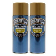 Hammerite Smooth Gold Metal Paint Spray 2 Cans 400ml