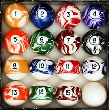 Billiard Balls Set For Pool Tables Regulation Size Quality Marble Swirl Style