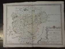 "RARE Jean Baptiste Nolin Antique Copper Map of ""Direction Du Mans"", Circa 1710"