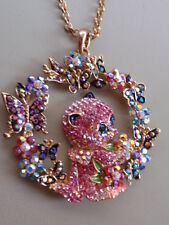 BUTLER & WILSON GOLD PLATED AUSTRIAN CRYSTAL BUTTERFLY KITTEN PENDANT NECKLACE