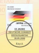 BRD 2000: 10 Jahre Deutsche Einheit! Nr 2142 mit Bonner Ersttagsstempel! 1A 1511