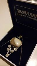 "Luxurious 925 Silver Botswana Agate & Moon Stones Pendant Necklace on 18"" chain*"