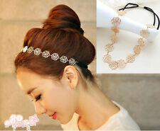 New Fashion Lovely Metallic Lady Hollow Rose Flower Elastic Hair Band Headband J