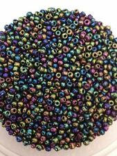 50g glass seed beads - Multicolour Iris - approx 2mm (size 11/0)metallic rainbow