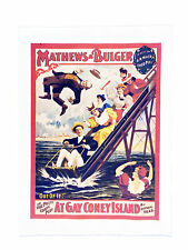 At Gay Coney Island- Retro Style Theatre Poster Style Large Cotton Tea Towel